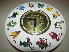 VINTAGE CERAMIC WALL CLOCK - ZODIAC WALL CLOCK HARD WIRE