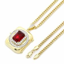 "14K Gold Plated Hip Hop Iced Out Red Stone Stash Pendant w/ 3mm 30"" Cuban Chain"