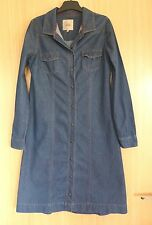 Next Ladies Dress 8 Chambray Denim Blue Shirt 70's Fashion Winter A line Skirt