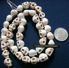 "16"" Antique white skull beads day of the dead reconstituted howlite 40 pcs sb010"