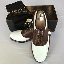 FootJoy Classic Premiere Dry -NIB- 9 D White with Med. Brown Lizard Saddle