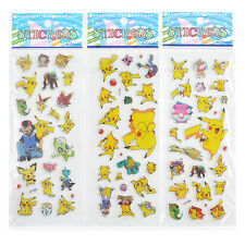 2016 3pcs Pokemon Stickers Pikachu Pocket Monster Scrapbooking Sticker Sheet