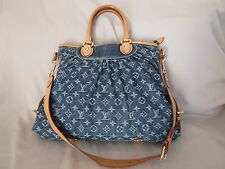 Genuine Louis Vuitton Neo Cabby monogram shoulder bag tote in denim blue