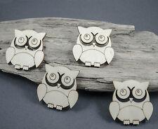 4 x Owl Craft Embellishment Birch Plywood Laser Cut Wooden Shape Blank MDF