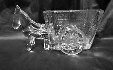 "Vintage Clear Glass Donkey & Cart Candy,Tooth Pick, Card Holder 5"" LQQK!"