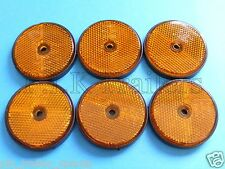 FREE P+P* 6 x AMBER Screw on 60mm Round Reflectors - Trailers & Horse Box