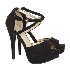 WOMENS PEEP TOE STRAPPY PLATFORM STILETTO LADIES HIGH HEEL SANDAL SHOES SIZE 3-8