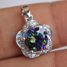 18K White Gold Filled - 8MM Mini MYSTICAL Rainbow Topaz Plum Flower Prom Pendant