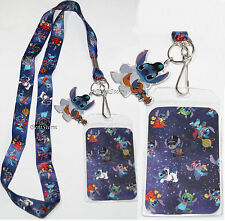 Disney Lilo & Stitch Elvis Guitar ID Holder Pin Neck Strap Lanyard w/Metal Charm