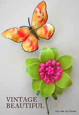 BRIGHT GREEN VINTAGE FLOWER PIN AND LARGE SIZE COLORFUL BUTTERFLY PIN **GIFT SET