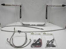 "Paul Yaffe Bagger 12"" Chrome Monkey Bar Handlebar Package Kit Harley FLH Non ABS"