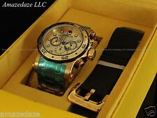 Invicta Men Pro Diver Scuba Chrono 18KT Gold Plated Stainless St. W/ Extra Strap