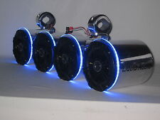 Kicker Pol LED's Double Wakeboard Boat Tower Speakers, Marine UTV RZR Can Am NEW