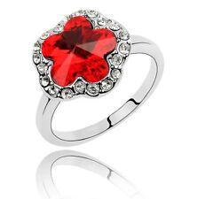 Elegante Cristallo Rosso & Bianco Strass Fiore Anello di piccole dimensioni M fr55r