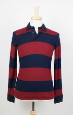 New. J.PRESS YORK ST. Navy Blue/Red Wool Polo Rugby Shirt Size Small $120