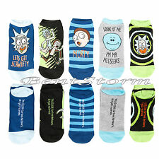 Rick And Morty Lets Get Schwifty Character No-Show Ankle Socks 5 Pair Adult Swim