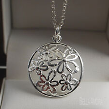 "925 Silver Round Flower Petal Pendant with 18"" Necklace Chain - UK New -80"