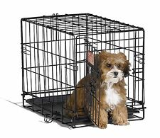 Small Dog Pet Cat Crate Cage Kennel Metal Folding Door Tray Travel Portable New