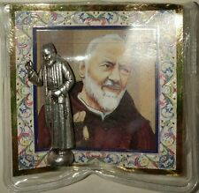 "SAINT PIO OF PIETRELCINA CATHOLIC POCKET STATUE & 3"" X 3"" GOLD STAMPED HOLY CARD"
