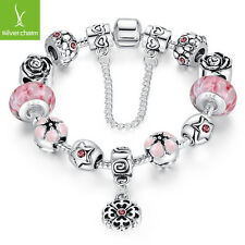 Pink Murano Bead Silver Snake Chain Charm Bracelet For Women Fashion Jewelry