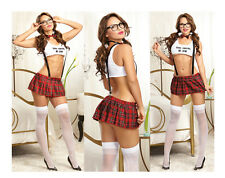 NEW WOMANS LADIES NAUGHTY SCHOOL GIRL HEN DOO FANCY DRESS PARTY OUTFIT LINGERIE