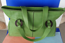 Plinio Visona Green Pebbled Leather Large Tote Shopper Bag Purse Made in Italy