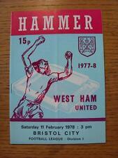 11/02/1978 West Ham United v Bristol City  (Fold, Score Noted Inside & Token Rem
