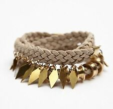 Free People Beige Suede Braided Brass Tone Wrap Bracelet  NWT