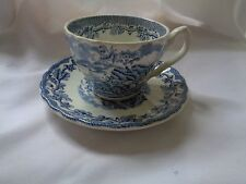 "Myotts Transferware ""Country Life"" Blue Cup And Saucer"