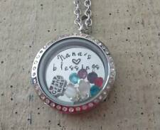 Floating Memory charms Locket Necklace Personalized Necklace Grandma Nana Family