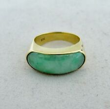 Vintage ? 14K Gold Saddle Ring with 20.5mm Green & White JADEITE Jade  (size 6)