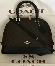 COACH SIERRA SIGNATURE SATCHEL Dome Crossbody bag Brown/Black F37233 NWT