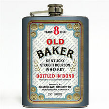 Old Baker Vintage Liquor Label Flask 8oz Steel Straight Kentucky Bourbon Whiskey