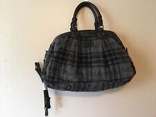 L L Bean vintage rare black and gray wool/alpaca plaid bag purse tote Large