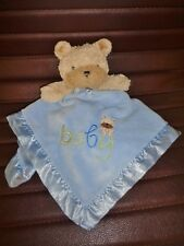 Blanket Carters Child of Mine Blue Baby Lovey Security Rattle Brown Bear Plush