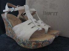 BORN Rebecka B16102 Natural Platform Wedge Sandals Shoes Size US 10 M EUR 42 NWB