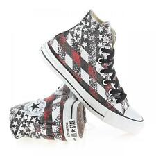 Converse Distressed Grey Black Red Flag Stars Stripes HI TOP Shoes Mns 9 NWT