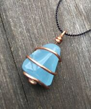 Aquamarine Necklace Spiraled in Copper! Awesome Ocean Blue Aquamarine Pendant!
