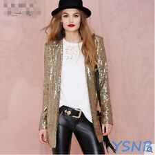 Ladies Blazer Coat Long Sleeve Bling Shinny Sequin Gold Gold Punk Rock Jacket