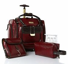 Samantha Brown Croco First Class Underseater Wheeled Luggage - BURGUNDY
