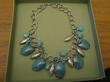 """Silver Tone Chain with Turquoise Blue & Green Beads Necklace - 19-21"""" long"""