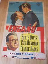 DECEPTION Original 1946 Argentina poster Bette Davis Claude Rains Film noir