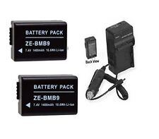 2 Batteries + Charger for Panasonic DMC-FZ60 FZ62 DMC-FZ60K DMC-FZ70 DMC-FZ70K