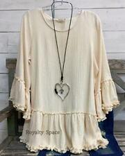 100% COTTON HIPPIE-CHIC BOUTIQUE STYLE TUNIC BEIGE SWEATER RUFFLED TRIM TOP- 2X