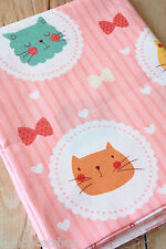Cats & Bows Cute Cotton Fabric zakka cartoon DIY sewing cloth quilting craft