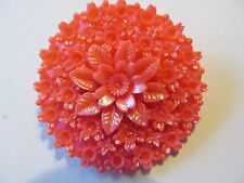 VINTAGE JAPAN's VIVID PINK CREATED FLORAL w/SPARKLY GLITTER CELLULOID BROOCH PIN