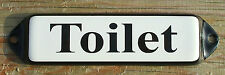 VINTAGE ENAMEL WC TOILET SIGN. BLACK TEXT ON A WHITE BACKGROUND. 10x3cm.