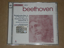 BEETHOVEN -SYMPHONY N. 5, 6, 7, OVERTURE EGMONT & LEONORA-2 CD COME NUOVO (MINT)