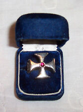 1970`s Knights Templar Cross 925 Silver Purple Stone Ring -Size 7 (US) With Case