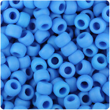 500 Tropic Blue Matte 9x6mm Barrel Pony Beads Made in the USA